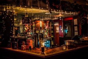 The Bar lit up at night